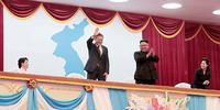 [현장포토]'삼지연 관현악단' 평양대극장 환영 예술공연에 참석한 문재인 대통령 내외