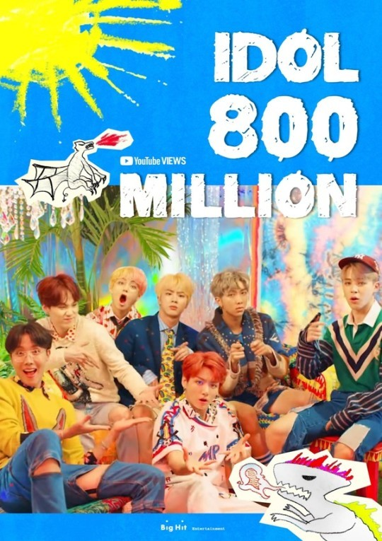 Bulletproof Boy Scouts surpassed 800 million views for the fifth time in history...  'Idol' MV was also finished
